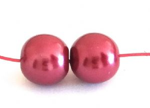 150 Glass pearl beads 6mm Burgundy